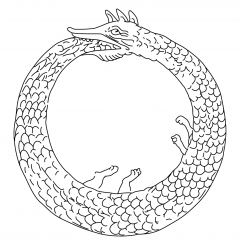 Image of an ouroborus, a serpent eating its own tail, representing self-reflexivity