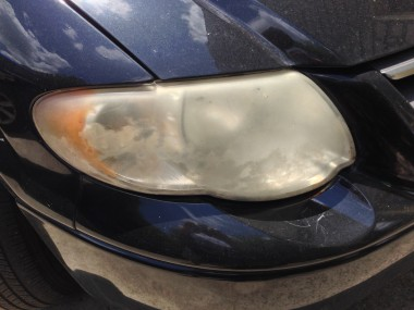 Our headlight was covered by a hazy film